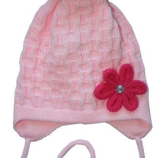 Шапка девочки Цветочек весенняя, розовая, р.40-44