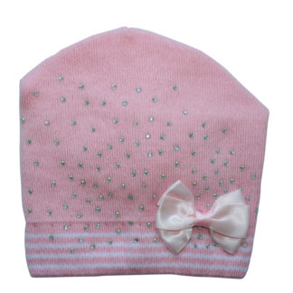 Шапка девочка бант, розовая, р.46-48